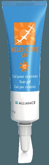 KELO-COTE® Narbengel UV mit Lichtschutzfaktor 30 um Narben vor Sonne zu schützen.